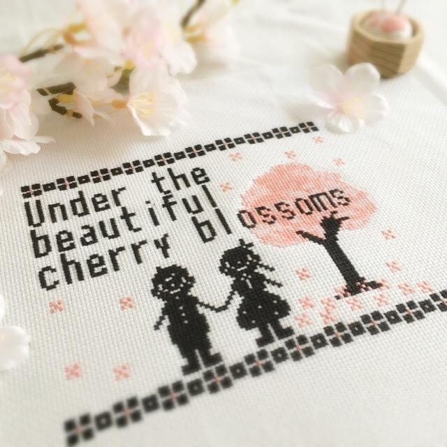 フリーチャート☆3色刺しクロスステッチ図案~美しい桜の木の下で~