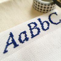 クロスステッチ,フリーチャート,アルファベット,小さ目,1色,みのり工房