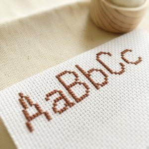 クロスステッチ,無料,アイロンビーズ,フリーチャート,アルファベット,ABC,シンプル,可愛い,小さ目,1色,みのり工房